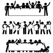 A set of pictogram representing friend holding an ...