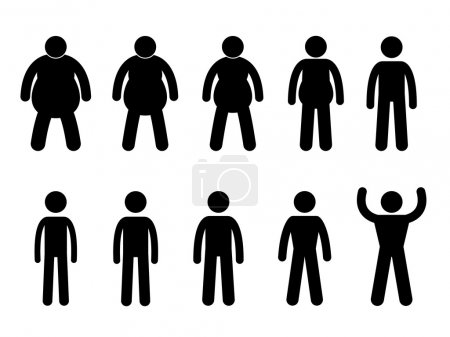 Illustration for A set of pictogram representing the process from fat to thin and slim to muscular. - Royalty Free Image