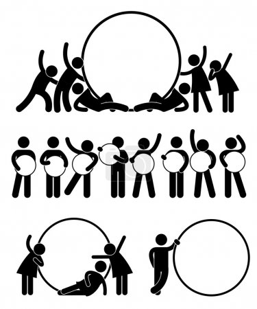 Illustration for A set of pictogram representing a group of friend holding round empty banner. - Royalty Free Image