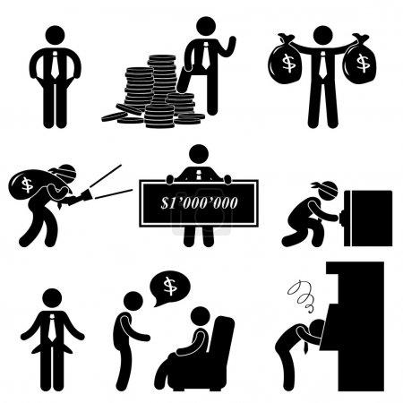 Rich Poor Success Failure Desperate Businessman Icon Symbol Sign Pictogram