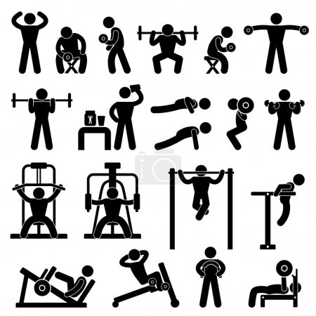 Photo for A set of pictogram showing a set of artwork related body building workout. - Royalty Free Image