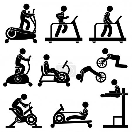 Illustration for A set of pictogram showing a set of artwork related gym equipment workout. - Royalty Free Image