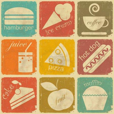 Photo pour Ensemble d'étiquettes alimentaires vintage - Signes rétro avec effet Grunge - illustration vectorielle - image libre de droit