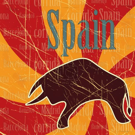 Illustration for Spanish bull on grungy background - postcard - Royalty Free Image