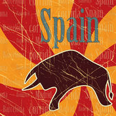 Spanish bull on grungy background - postcard