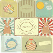 Easter cards in vintage style - basket of Easter Eggs and Bunny
