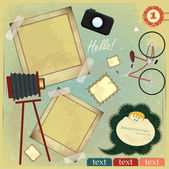 Vintage card - scrapbook elements on grunge background - vector illustration