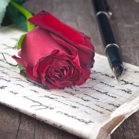 Photo for Love letter and rose close up - Royalty Free Image