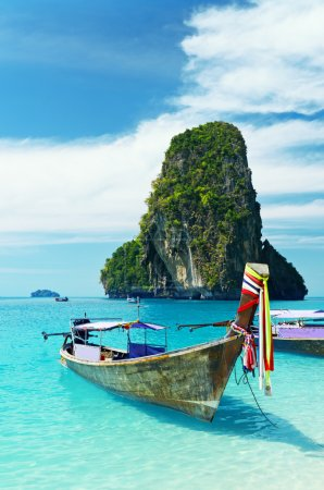 Photo for Clear water and blue sky. Krabi province, Thailand. - Royalty Free Image