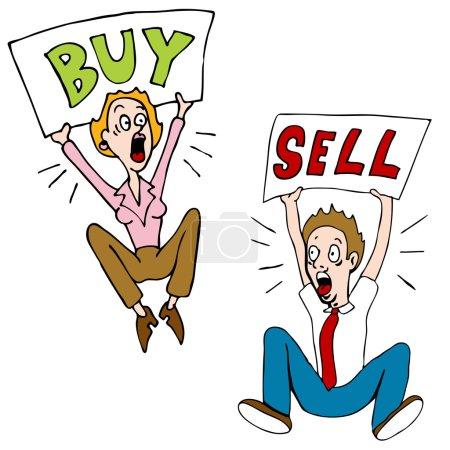 Illustration pour Une image d'un investisseur boursier avec des panneaux de vente d'achat . - image libre de droit