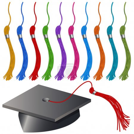 Illustration for An image of a graduation cap and tassel set. - Royalty Free Image