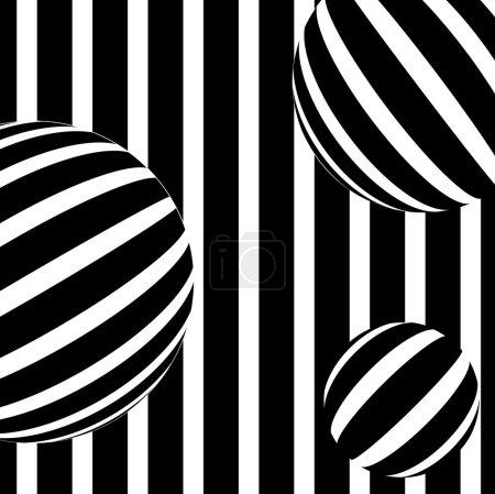 Illustration pour Illustration de fond rayé abstrait en noir et blanc - image libre de droit