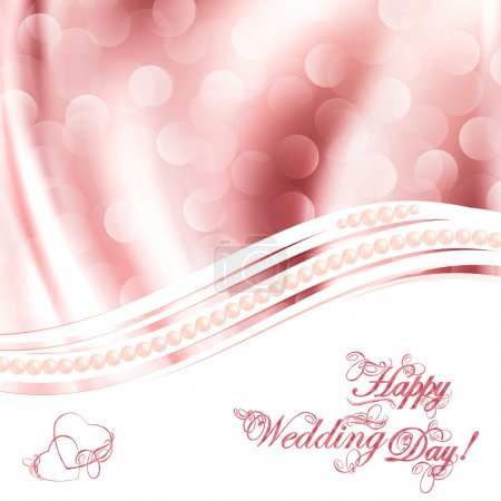Illustration for Wedding greetings over fabric drapery pink background - Royalty Free Image