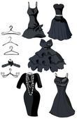 Set of little black dresses and coat racks Vector illustration