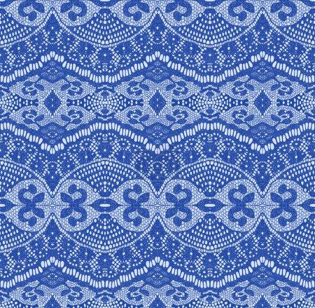 Blue seamless lace fabric