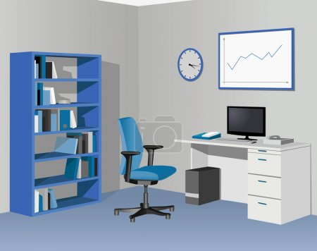 Illustration for Cabinet office in blue. Vector illustration - Royalty Free Image