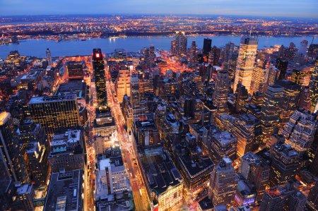 New York City Manhattan skyline aerial view at dusk