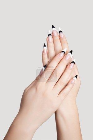 Photo pour Deux mains avec beaux ongles pointus de forme sur graybackground - image libre de droit