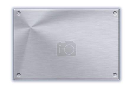 Steel plate on plain background
