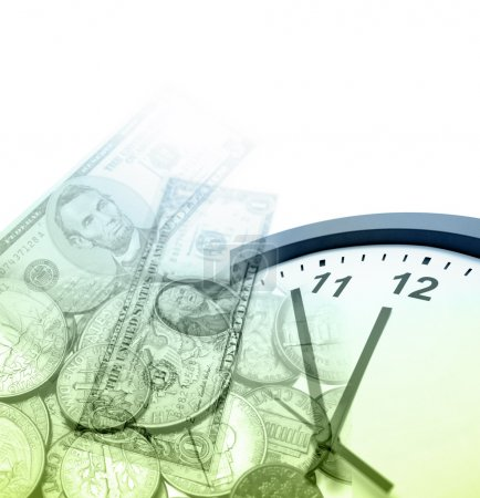 Photo pour Horloge, billets et pièces. Espace de copie - image libre de droit