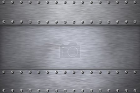 Photo for Rivets in brushed steel background. Copy space. - Royalty Free Image