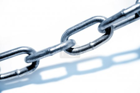 Steel chain links on white