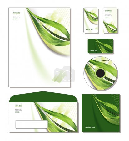 Corporate Identity Template Vector - letterhead, bus. and gift cards, cd.