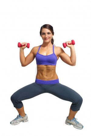 Beautiful Brunette Athlete with Hand Weights (4)