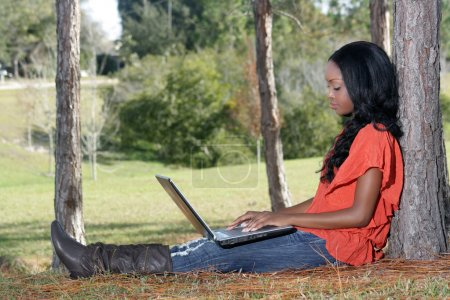 Beautiful Casual Woman Outdoors with Laptop (1)