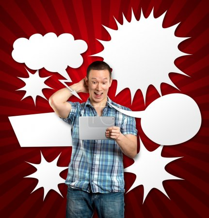 Photo for Man with speech bubble, have got an Idea, with touch pad - Royalty Free Image