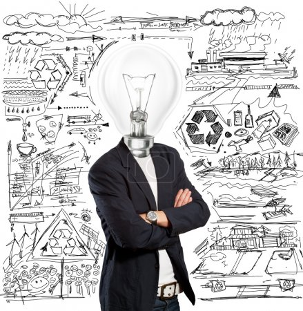 Photo for Idea concept, lamp head businessman have got an idea - Royalty Free Image