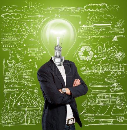 Photo pour Concept d'idée, chef de lampe homme d'affaires ont une idée - image libre de droit