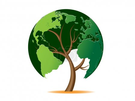 Illustration for Environmental concept. Tree forming the world globe - Royalty Free Image