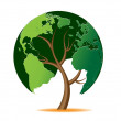 Environmental concept. Tree forming the world glob...