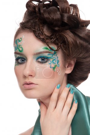 Close-up portrait of sprite girl with faceart