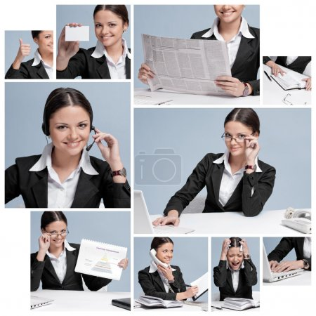 Collage of business woman working in office