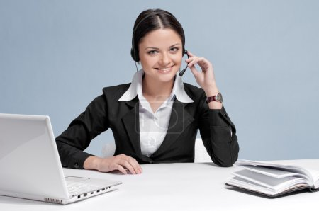 Business woman with headset communication