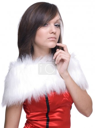 Photo for Close up portrait of brunette woman in santa claus dress and white fur - Royalty Free Image