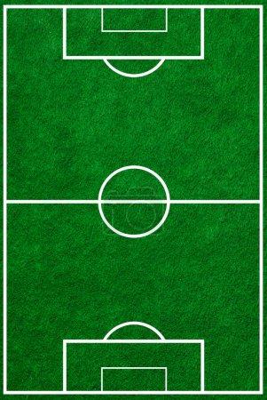 Photo pour Vue du dessus du terrain de football avec des marquages appropriés - image libre de droit