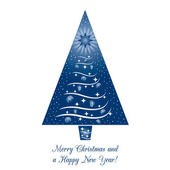 Blue Christmas Tree Greeting Card on isolated white background Merry Christmas and a Happy New Year! Vector illustration