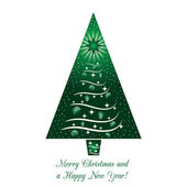 Green Christmas Tree Greeting Card on isolated white background Merry Christmas and a Happy New Year! Vector illustration