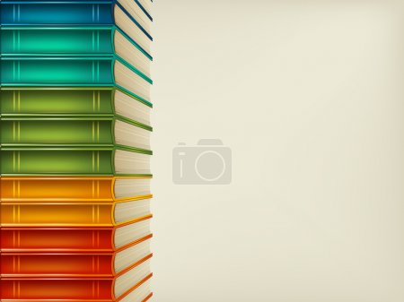 Illustration for Heap of multi-coloured books isolated on beige background - Royalty Free Image