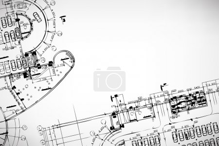 Illustration for Grey abstract background. Architectural theme. Working drawings - Royalty Free Image