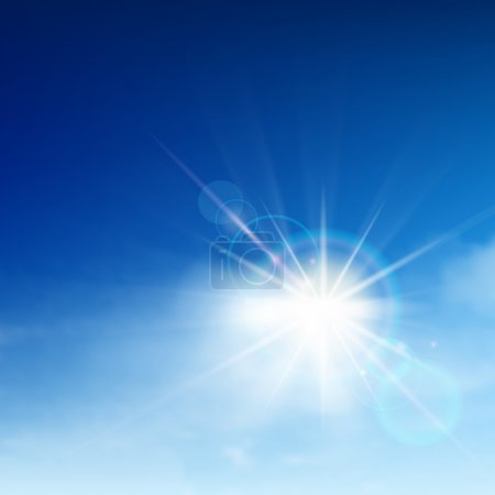 Illustration for Bright blue sky with easy clouds and solar patch of light - Royalty Free Image