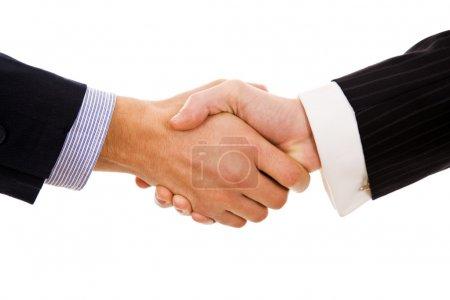 Business men hand shake in white background