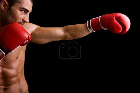 Photo pour Jeune boxeur combattant sur fond noir - image libre de droit