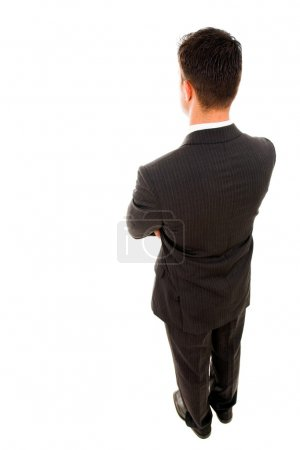 Photo for Top view of a yong business man from the back, isolated on white - Royalty Free Image
