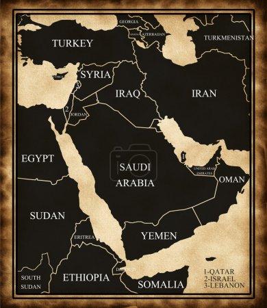 Photo pour Carte du Moyen-Orient sur le style ancien - image libre de droit