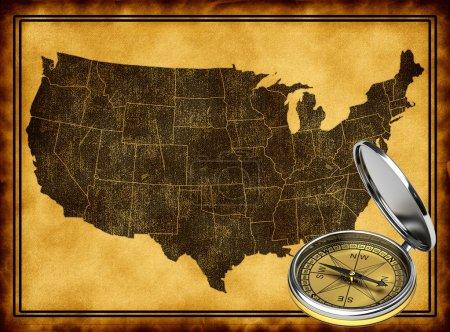 Photo pour Carte des Etats-Unis avec la boussole dans le style ancien - image libre de droit