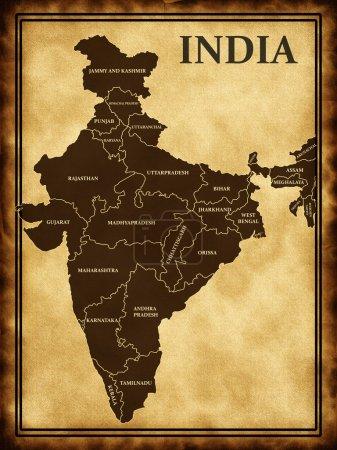 Photo pour Carte de l'Inde sur le vieux fond - image libre de droit